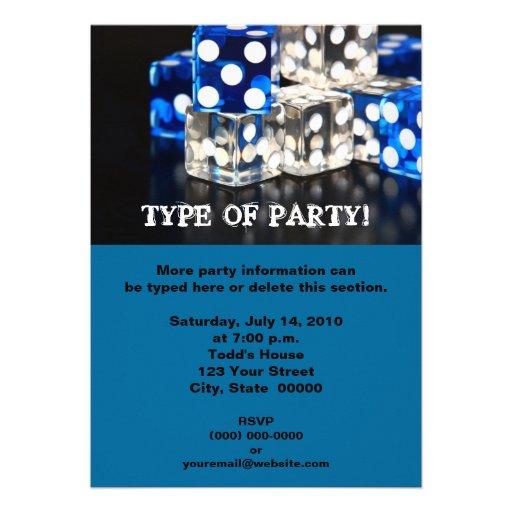 Invitaciones del fiesta de los dados invitación personalizada