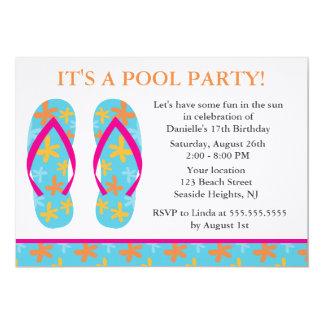 """Invitaciones del fiesta de los flips-flopes invitación 5"""" x 7"""""""