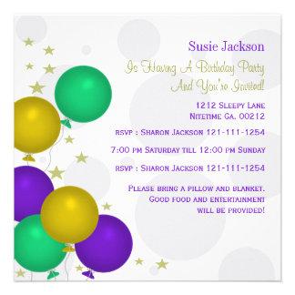 Invitaciones del fiesta de los globos del color de invitaciones personalizada