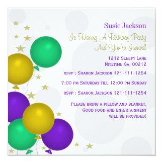 """Invitaciones del fiesta de los globos del color de invitación 5.25"""" x 5.25"""""""