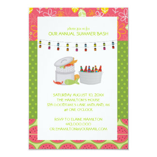 Invitaciones del fiesta de los mariscos del verano invitación 8,9 x 12,7 cm