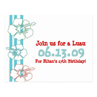 Invitaciones del fiesta de Luau Postal
