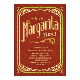 """Invitaciones del fiesta de Margarita - fiesta rojo Invitación 5"""" X 7"""""""