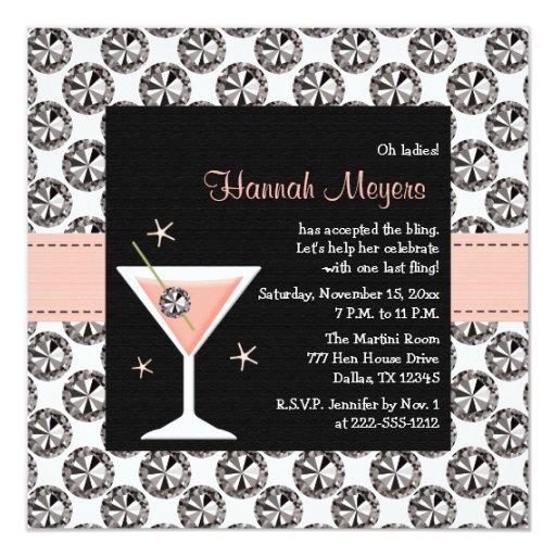 """Invitaciones del fiesta de Martini Bachelorette de Invitación 5.25"""" X 5.25"""""""