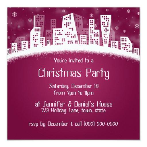 """Invitaciones del fiesta de Navidad de la ciudad Invitación 5.25"""" X 5.25"""""""
