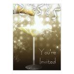 Invitaciones del fiesta de Noche Vieja de Champán Comunicados