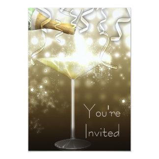 Invitaciones del fiesta de Noche Vieja de Champán Invitación 12,7 X 17,8 Cm