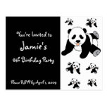 Invitaciones del fiesta de panda de los niños modi tarjeta postal
