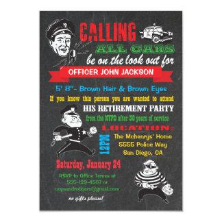 Invitaciones del fiesta de retiro de la policía de invitación 12,7 x 17,8 cm