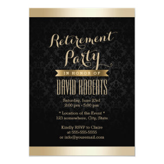 Invitaciones del fiesta de retiro del damasco del invitación 12,7 x 17,8 cm