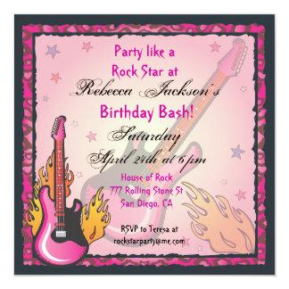 """Invitaciones del fiesta de RockStar Invitación 5.25"""" X 5.25"""""""