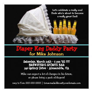Invitaciones del fiesta del barrilete del pañal -  invitación personalizada