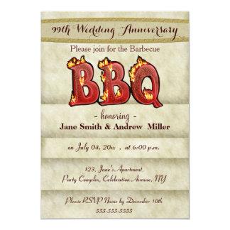 Invitaciones del fiesta del Bbq del aniversario de Invitación 12,7 X 17,8 Cm