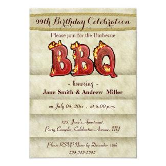 Invitaciones del fiesta del Bbq del cumpleaños Invitación 12,7 X 17,8 Cm
