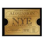 Invitaciones del fiesta del boleto del oro de NYE Invitacion Personal