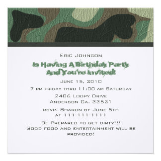 Invitaciones del fiesta del camuflaje comunicado personal