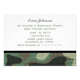 Invitaciones del fiesta del camuflaje invitacion personal