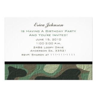 Invitaciones del fiesta del camuflaje comunicados personales