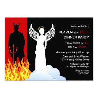 Invitaciones del fiesta del cielo y del infierno invitación 12,7 x 17,8 cm