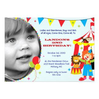 Invitaciones del fiesta del circo del carnaval invitaciones personalizada
