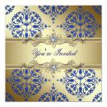 Invitaciones del fiesta del damasco del azul real comunicado