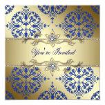 Invitaciones del fiesta del damasco del oro del comunicados personalizados