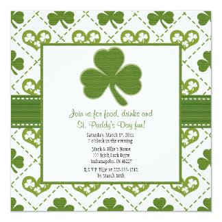 """Invitaciones del fiesta del día de St Patrick Invitación 5.25"""" X 5.25"""""""