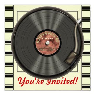 Invitaciones del fiesta del disco de vinilo del anuncio