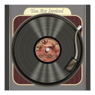 Invitaciones del fiesta del disco de vinilo del comunicados personales