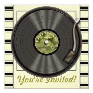 Invitaciones del fiesta del disco de vinilo del comunicado personalizado