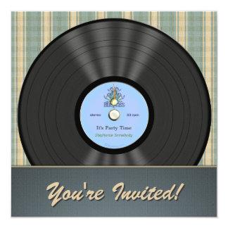 Invitaciones del fiesta del disco de vinilo del anuncio personalizado