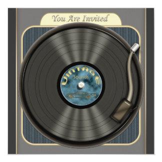 Invitaciones del fiesta del disco de vinilo del comunicado