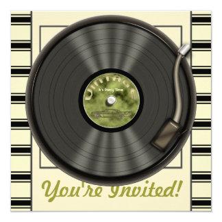 """Invitaciones del fiesta del disco de vinilo del invitación 5.25"""" x 5.25"""""""