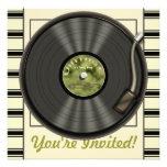Invitaciones del fiesta del disco de vinilo del vi comunicado personalizado