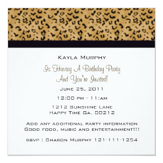 """Invitaciones del fiesta del estampado leopardo invitación 5.25"""" x 5.25"""""""