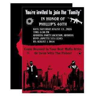 """Invitaciones del fiesta del gángster invitación 4.5"""" x 6.25"""""""