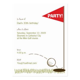 Invitaciones del fiesta del golf postal
