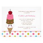 Invitaciones del fiesta del helado de Kawaii Invitaciones Personales