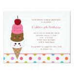 """Invitaciones del fiesta del helado de Kawaii Invitación 4.25"""" X 5.5"""""""