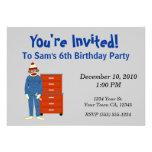 Invitaciones del fiesta del mecánico del mono del  invitacion personal