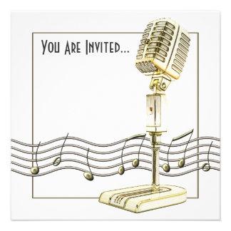 Invitaciones del fiesta del micrófono del vintage
