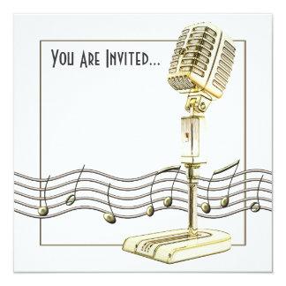 Invitaciones del fiesta del micrófono del vintage invitación 13,3 cm x 13,3cm