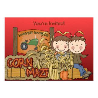 Invitaciones del fiesta del otoño del laberinto de comunicado personal