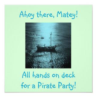 """Invitaciones del fiesta del pirata azules invitación 5.25"""" x 5.25"""""""