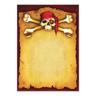 """Invitaciones del fiesta del pirata invitación 5"""" x 7"""""""