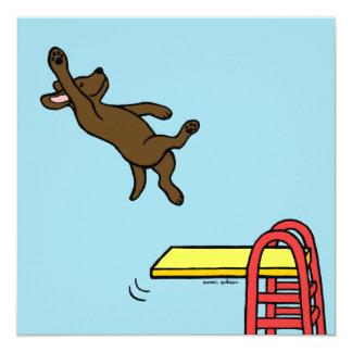"""Invitaciones del fiesta del salto de Labrador del Invitación 5.25"""" X 5.25"""""""
