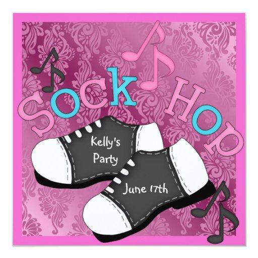 Invitaciones del fiesta del salto del calcetín CON Invitación 13,3 Cm X 13,3cm