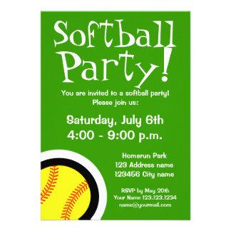 Invitaciones del fiesta del softball para los cump