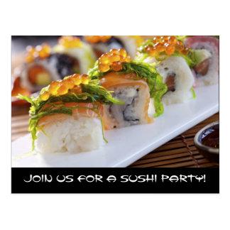 Invitaciones del fiesta del sushi tarjetas postales