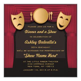 Invitaciones del fiesta del teatro de la cena del invitaciones personalizada